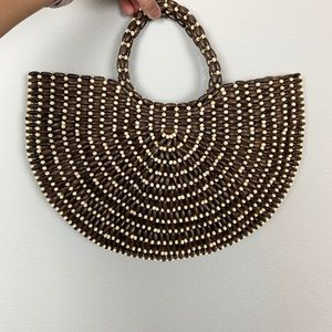 Free People Summer Handbag Brown & Tan beads